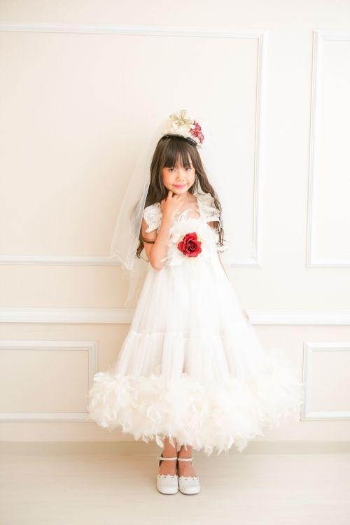 (レンタル)トリプルレースのフェザードレス☆ 「airun dream」 8T 【120/130/140サイズ】【micia my dress】