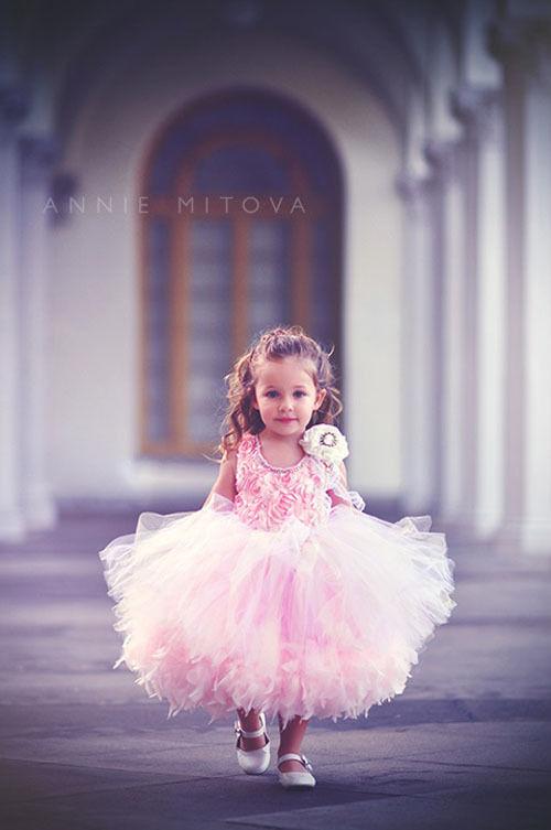 (レンタル)ふわふわのチュール&フェザー!ソフトピンクとアイボリーのゴージャスドレス【Pretty Little Things】2サイズ<◎>