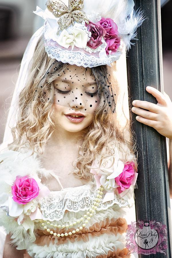 (レンタル)ウェディングベールヘッドドレス☆ヘアクリップ2個付きこども花嫁様風♪七五三の洋装撮り・結婚式に!