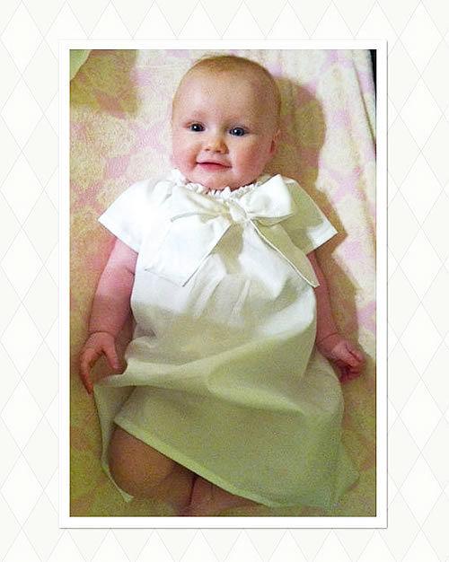 (レンタル)ベビードレス☆シンプルリボン「BASIC BOW 」 ソフトフラワーヘアバンドセット☆ 赤ちゃんの出産祝い・ファーストフォトに♪