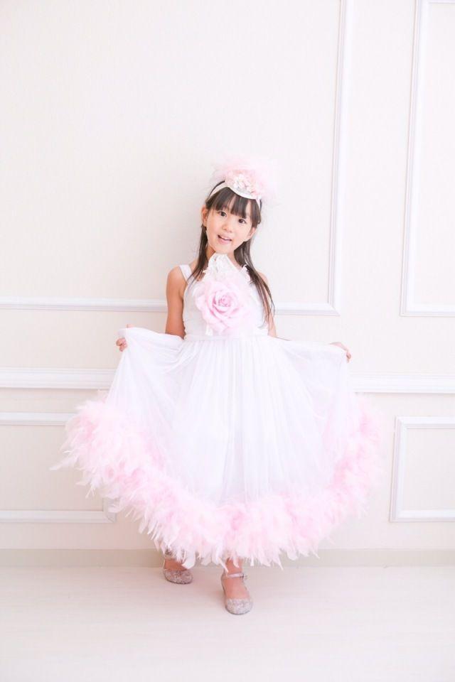 (レンタル)ピンクフェザー付♪ゴージャスなホワイトドレス【mia luxury】7/8T【110/120/130サイズ】【micia my dress】