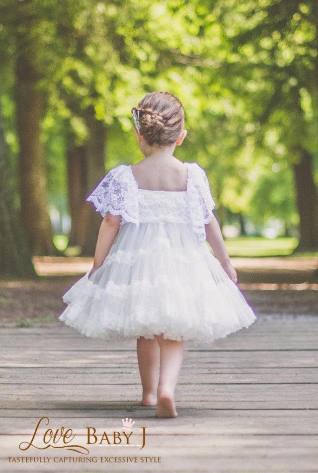 (レンタル)トリプルレースの清楚なホワイトワンピースドレス☆グレイアンティークローズ添え3/4T【100・110・120サイズ】
