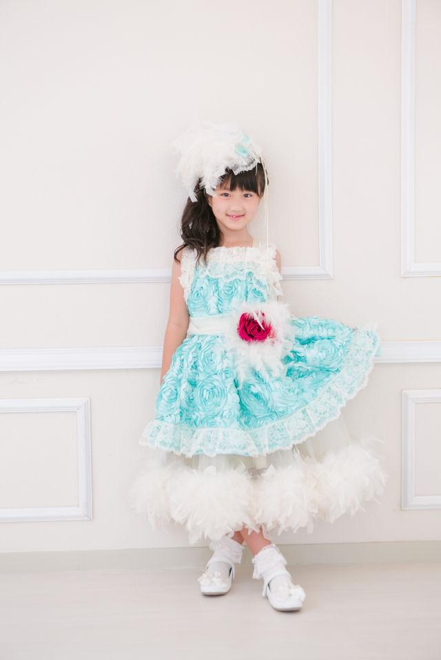 (レンタル)可愛いアクアミントのフェザードレス 「Otoha?」【110/120/130サイズ】【micia my dress】