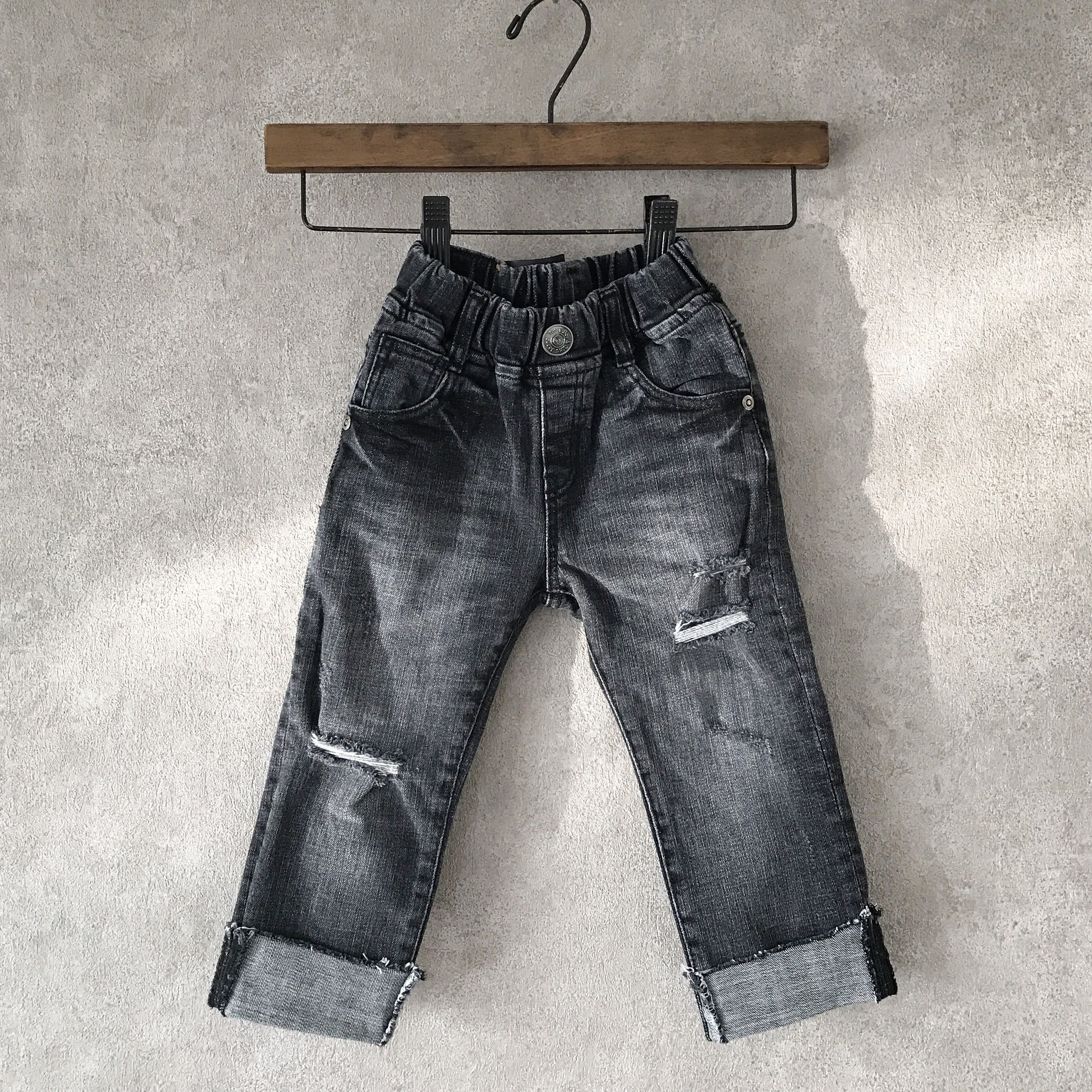 KIDS crash denim??  black  男女兼用