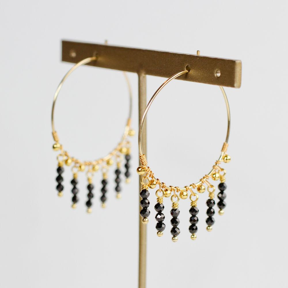 Black spinel fringe hoop pierce(mn-pi-133-d)