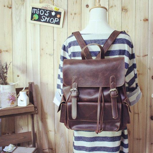【受注製作】可愛い四角型 手作りリュックサック バッグ 茶R92813