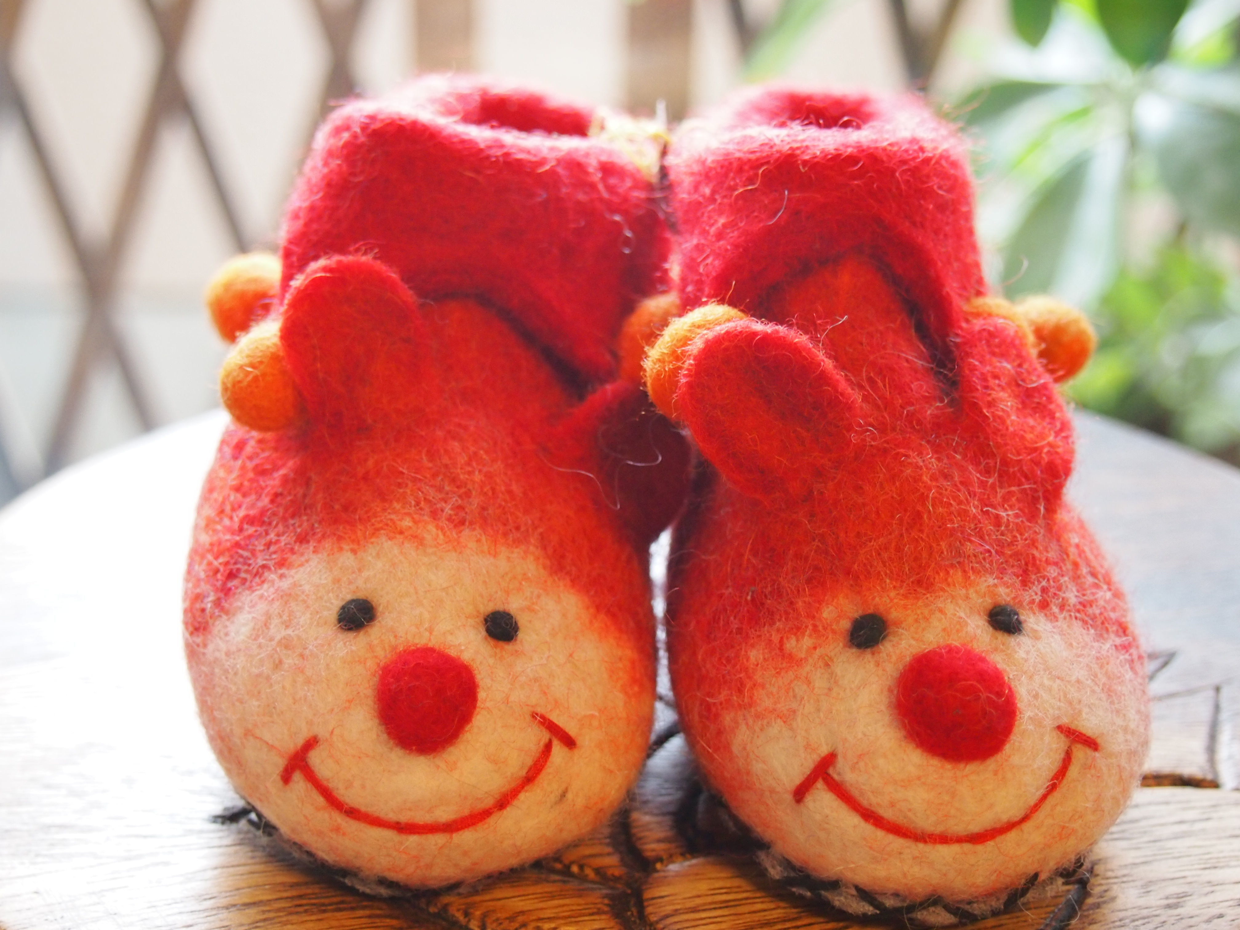 baby shoes - mouse - orange red -