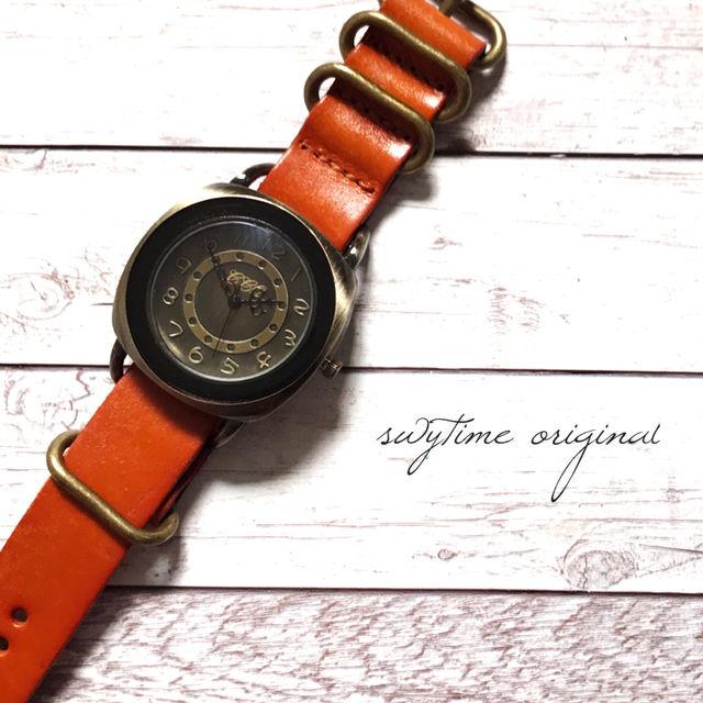 レザーウォッチ オレンジ 腕時計 メンズ レディース シンプル ギフト 人気 プレゼント 時計 おしゃれ 安い かわいい プチプラ ブレスレット 激安  橙色 アンティーク