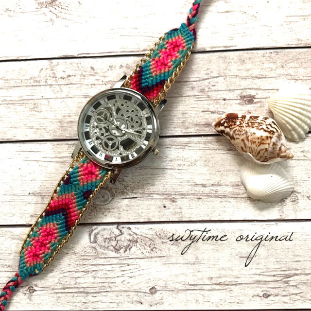 ミサンガウォッチ シルバー フリーサイズ 腕時計 レディース シンプル ギフト 人気 プレゼント 時計 おしゃれ 安い かわいい プチプラ ブレスレット 激安 ボヘミアン