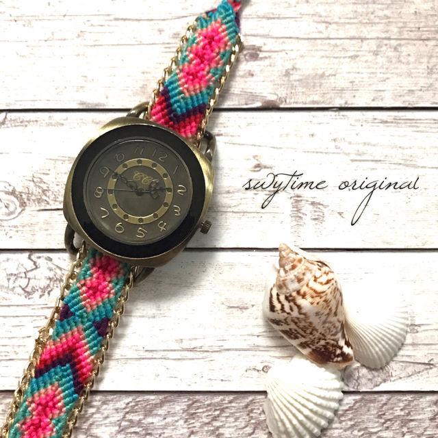 ミサンガウォッチ フリーサイズ 腕時計 レディース シンプル ギフト 人気 プレゼント 時計 おしゃれ 安い かわいい プチプラ ブレスレット 敬老の日 ボヘミアン