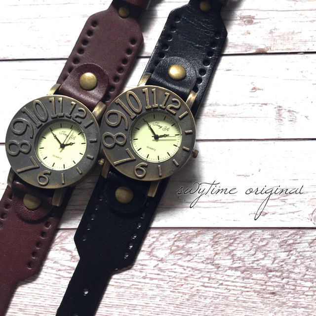 【ペア価格】レザーペアウォッチ 腕時計  メンズ レディース シンプル ギフト 人気 プレゼント 時計 おしゃれ 安い かわいい プチプラ ブレスレット 激安 ブラック×ダークブラウン レザー