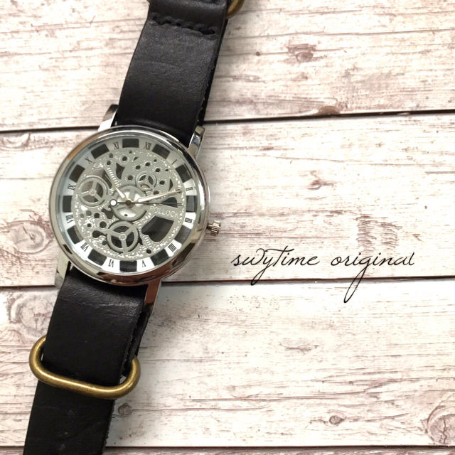 レザーウォッチ シルバー× ブラック 腕時計 メンズ レディース シンプル ギフト 人気 プレゼント 時計 おしゃれ 安い かわいい 敬老の日 ブレスレット 黒色