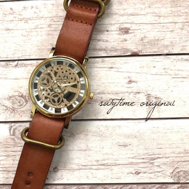レザーウォッチ ゴールド× ライトブラウン 腕時計 メンズ レディース シンプル ギフト 人気 プレゼント 時計 おしゃれ 敬老の日 かわいい プチプラ ブレスレット 茶色
