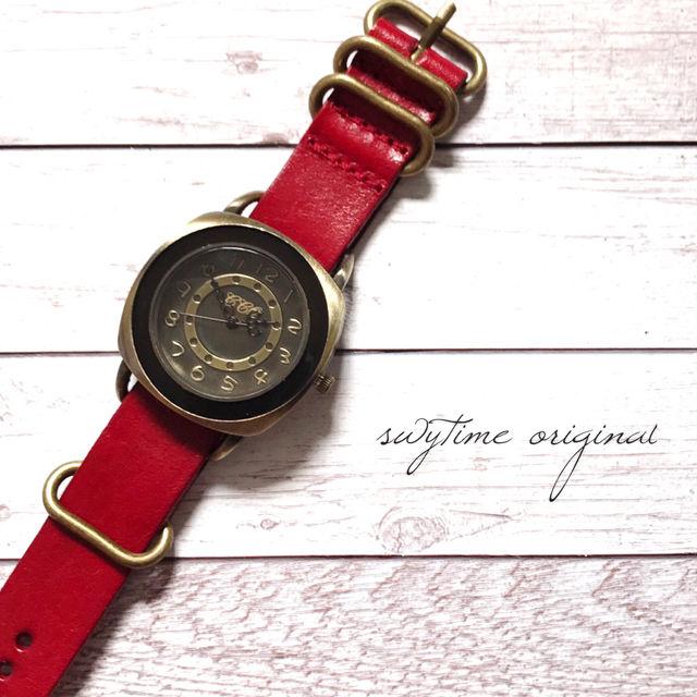 レザーウォッチ レッド 腕時計 メンズ レディース シンプル ギフト 人気 プレゼント 時計 おしゃれ 安い かわいい プチプラ ブレスレット 赤 アンティーク