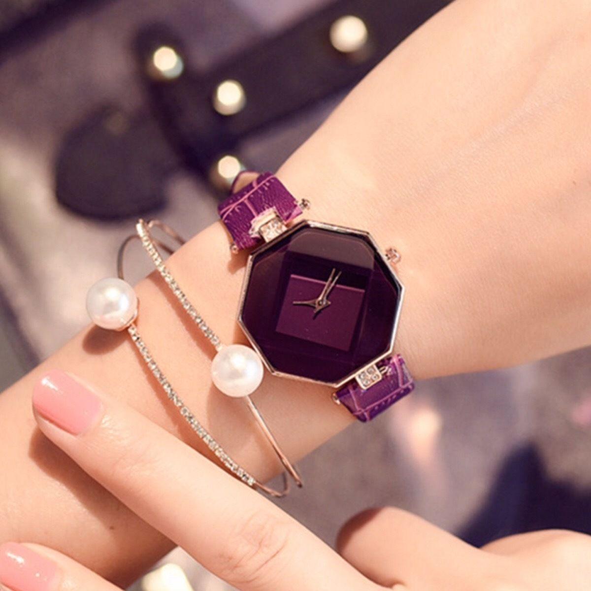 秋色 クリアウォッチ パープル  レディースサイズ シンプル ギフト 人気 プレゼント 時計 おしゃれ 安い かわいい ブレスレット 腕時計 紫