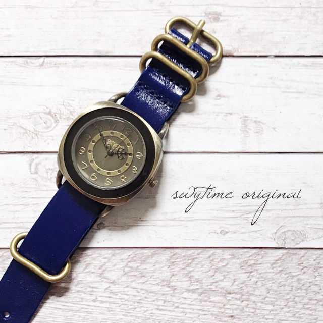 レザーウォッチ ブルー 腕時計 メンズ レディース シンプル ギフト 人気 プレゼント 時計 おしゃれ 安い かわいい プチプラ ブレスレット 青 アンティーク
