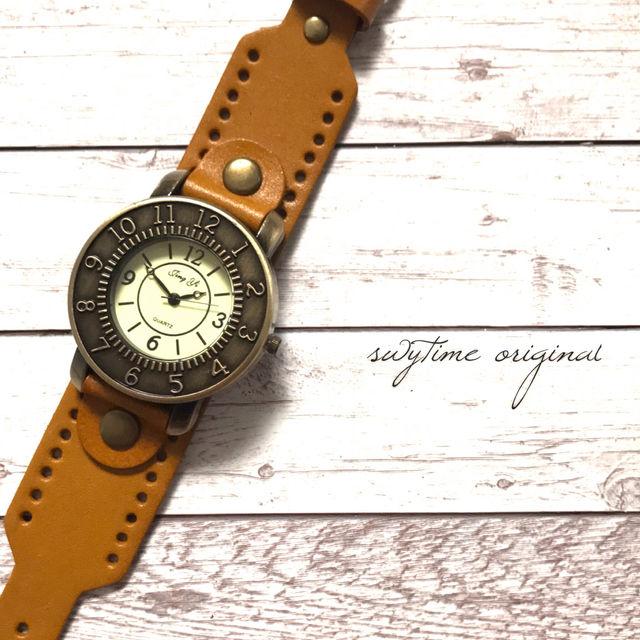 レザーが可愛い腕時計 ペアウォッチ メンズ レディース シンプル ギフト 人気 プレゼント 時計 おしゃれ かわいい 名入れ イニシャル 茶色 ライトブラウン レザー