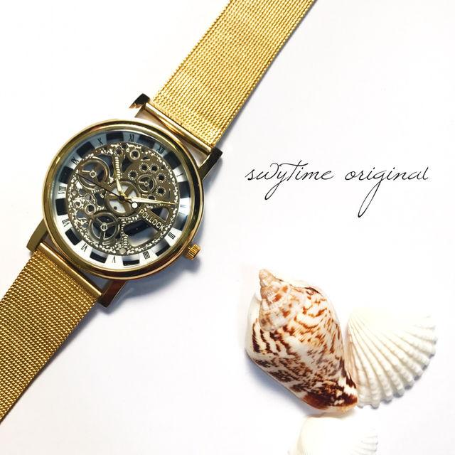 【大人気商品】クリアウォッチゴールド 腕時計 メンズ レディース 兼用 シンプル ギフト プレゼント 時計 おしゃれ かわいい スケルトン ブレスレット 歯車  金