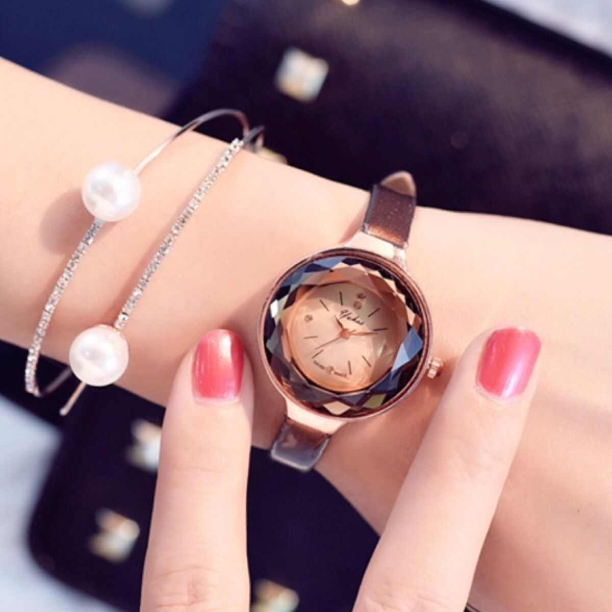 クリアウォッチ ピンクゴールド  レディースサイズ シンプル ギフト 人気 プレゼント 時計 おしゃれ 安い かわいい ブレスレット 腕時計