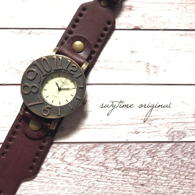 アシンメトリーが可愛い腕時計 ペアウォッチ メンズ レディース シンプル ギフト 人気 プレゼント 時計 おしゃれ 安い ブレスレット 激安 こげ茶 ダークブラウン レザー