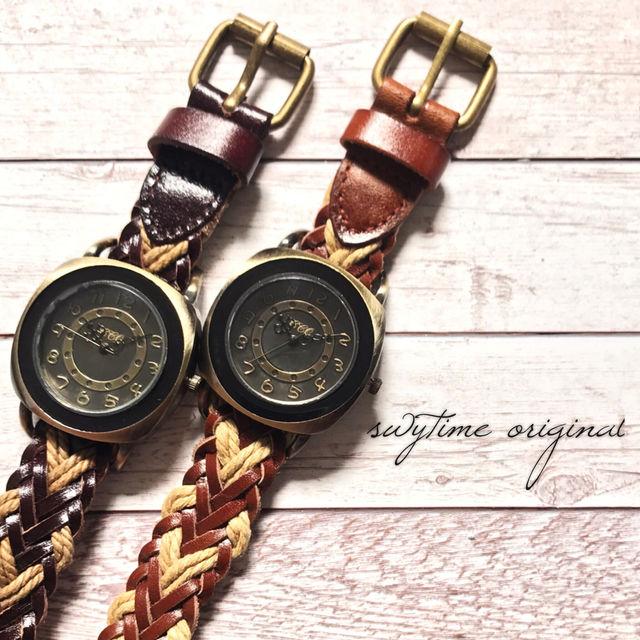 【ペア価格】編み込みペアウォッチ 腕時計  メンズ レディース シンプル ギフト 人気 プレゼント 時計 おしゃれ 安い かわいい プチプラ ブレスレット 敬老の日  薄茶 ライトブラウン レザー