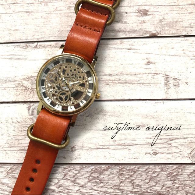 レザーウォッチ ゴールド× オレンジ 腕時計 メンズ レディース シンプル ギフト 人気 プレゼント 時計 おしゃれ 安い かわいい プチプラ ブレスレット 敬老の日 橙色