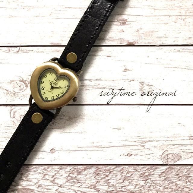 レザーウォッチ 黒 ブラック 腕時計 メンズ レディース シンプル ギフト 人気 プレゼント 時計 おしゃれ 安い かわいい プチプラ ブレスレット ハートアンティーク