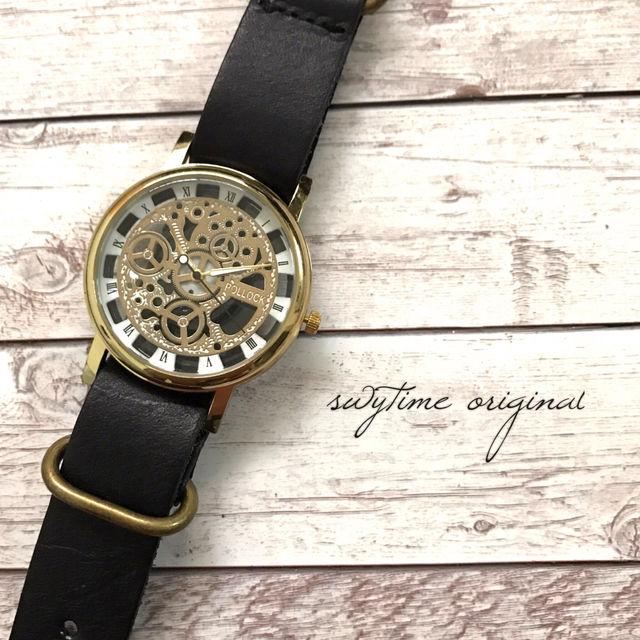 レザーウォッチ ゴールド× ブラック 腕時計 メンズ レディース シンプル ギフト 人気 プレゼント 時計 おしゃれ 敬老の日 かわいい プチプラ ブレスレット 黒色
