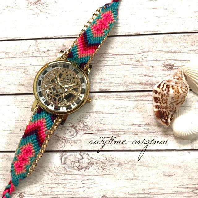 ミサンガウォッチ フリーサイズ 腕時計 レディース シンプル ギフト 人気 プレゼント 時計 おしゃれ 安い かわいい プチプラ ブレスレット 激安 ボヘミアン