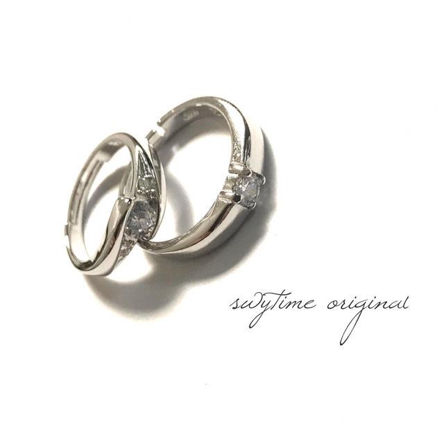 サイズが調整できるペアリング シルバー925 プレゼント 記念日 誕生日 贈り物 アクセサリー 結婚指輪 ジュエリー ギフト  シンプル  カップル  メンズ レディース 19