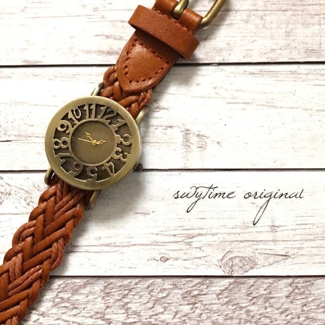 編み込み腕時計 ペアウォッチ メンズ レディース シンプル ギフト 人気 プレゼント 時計 おしゃれ 安い かわいい プチプラ ブレスレット  薄茶 ライトブラウン レザー