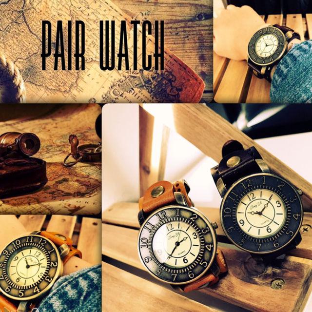 【ペア価格】レザーペアウォッチ 腕時計  メンズ レディース シンプル ギフト 人気 プレゼント 時計 おしゃれ 安い かわいい プチプラ ブレスレット 激安 ライトブラウン×ダークブラウン レザー