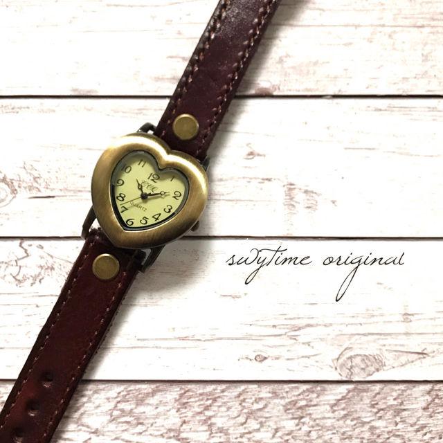 レザーウォッチ 赤 レッド 腕時計 メンズ レディース シンプル ギフト 人気 プレゼント 時計 おしゃれ 安い かわいい プチプラ ブレスレット ハート アンティーク
