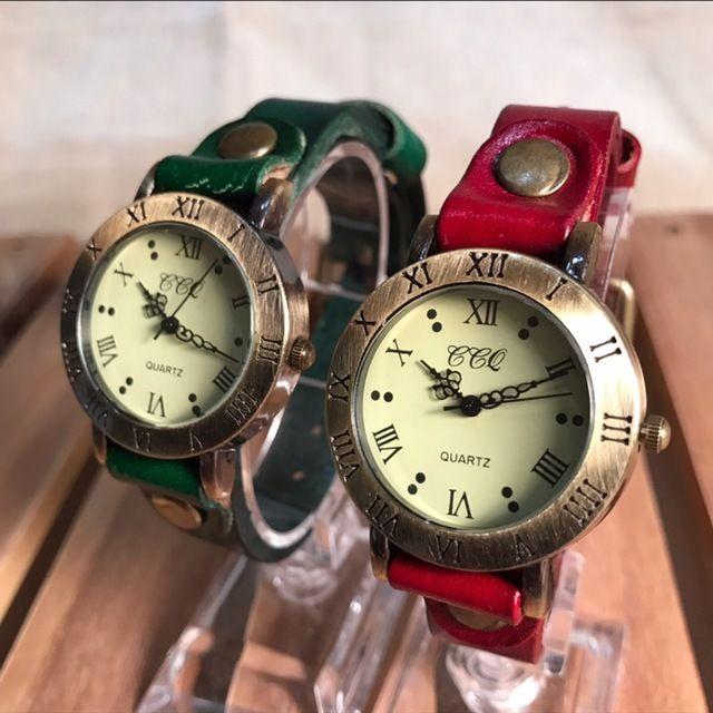 【ペア価格】レザーペアウォッチ 腕時計  メンズ レディース シンプル ギフト 人気 プレゼント 時計 おしゃれ 安い かわいい プチプラ ブレスレット 激安 レッド×グリーン レザー