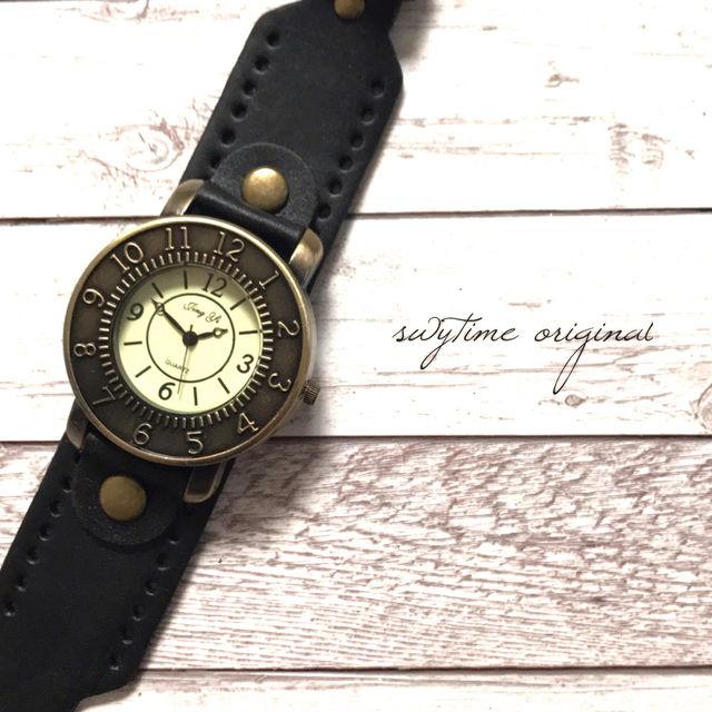 レザーが可愛い腕時計 ペアウォッチ メンズ レディース シンプル ギフト 人気 プレゼント 時計 おしゃれ かわいい 名入れ イニシャル 黒 ブラック レザー