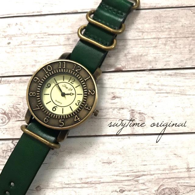 レザーウォッチ グリーン 腕時計 メンズ レディース シンプル ギフト 人気 プレゼント 時計 おしゃれ 安い かわいい プチプラ ブレスレット 敬老の日 緑 アンティーク