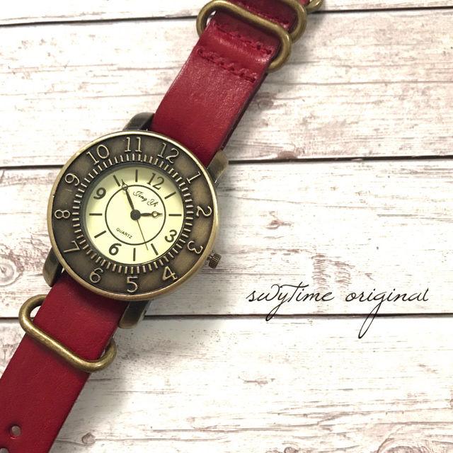 レザーウォッチ レッド 腕時計 メンズ レディース シンプル ギフト 人気 プレゼント 時計 おしゃれ 安い かわいい プチプラ ブレスレット 敬老の日   赤 アンティーク