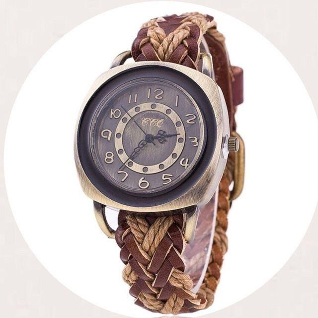 編み込み腕時計 ペアウォッチ メンズ レディース シンプル ギフト 人気 プレゼント 時計 おしゃれ 安い かわいい プチプラ ブレスレット 敬老の日 薄茶 ライトブラウン レザー
