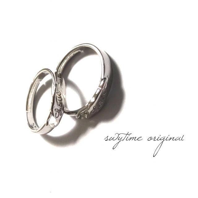 サイズが調整できるペアリング シルバー925 プレゼント 記念日 誕生日 贈り物 アクセサリー 結婚指輪 ジュエリー ギフト  シンプル  カップル  メンズ レディース 12
