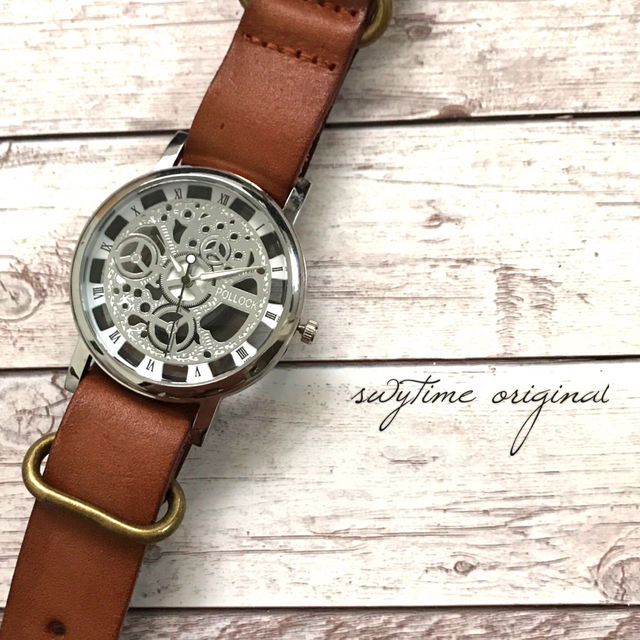 レザーウォッチ シルバー× ライトブラウン 腕時計 メンズ レディース シンプル ギフト 人気 プレゼント 時計 おしゃれ 敬老の日 かわいい プチプラ ブレスレット 茶色