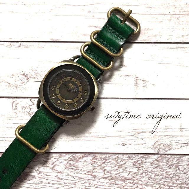 【刻印可能】レザーウォッチ グリーン 腕時計 メンズ レディース シンプル ギフト 人気 プレゼント 時計 おしゃれ 安い かわいい プチプラ ブレスレット 激安 緑 アンティーク
