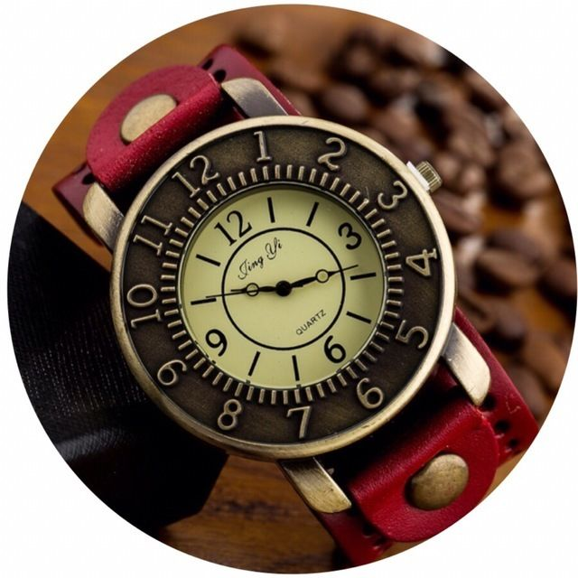 レザーが可愛い腕時計 ペアウォッチ メンズ レディース シンプル ギフト 人気 プレゼント 時計 おしゃれ かわいい 名入れ イニシャル レッド レザー 敬老の日