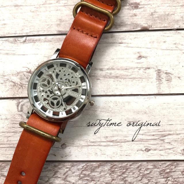 レザーウォッチ シルバー  オレンジ 腕時計 メンズ レディース シンプル ギフト 人気 プレゼント 時計 おしゃれ 安い かわいい プチプラ ブレスレット 敬老の日 橙色