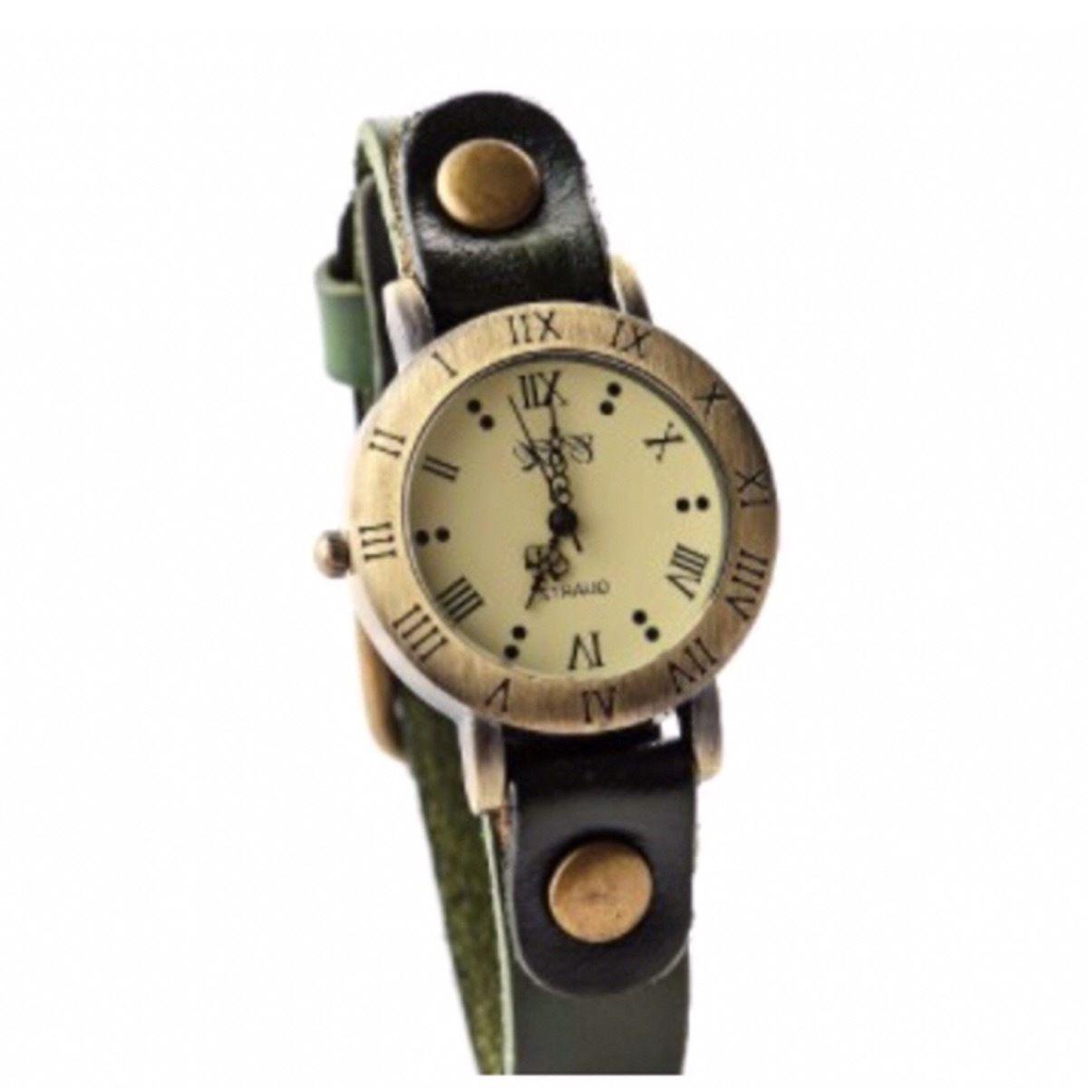 レザーウォッチ 腕時計 メンズ レディース シンプル ギフト 人気 プレゼント 時計 おしゃれ 安い かわいい プチプラ ブレスレット 敬老の日  緑 グリーン アンティーク