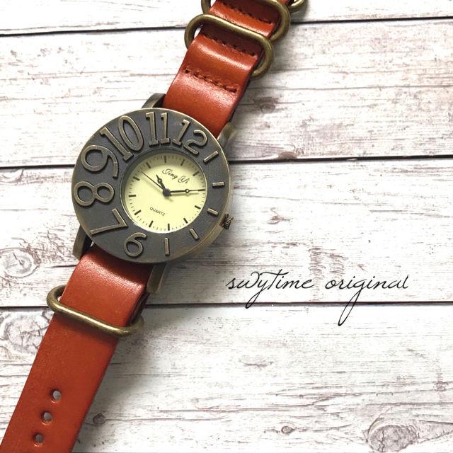 レザーウォッチ オレンジ 腕時計 メンズ レディース シンプル ギフト 人気 プレゼント 時計 おしゃれ 安い かわいい プチプラ ブレスレット 敬老の日   橙色 アンティーク