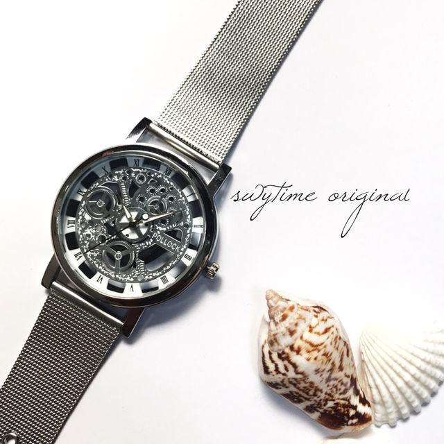 【大人気商品】シルバークリアウォッチ 腕時計 メンズ レディース 兼用 シンプル ギフト プレゼント 時計 おしゃれ かわいい スケルトン ブレスレット 歯車 銀