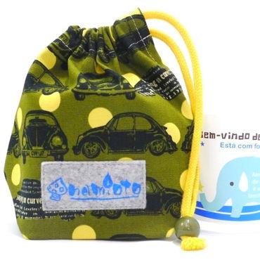クラシックカー カーキ 巾着(小)ハンドメイド!