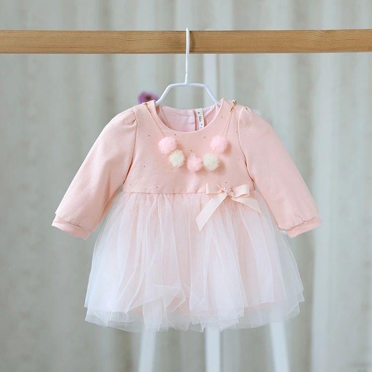 選べる3色 胸元のファーボンボンとリボン、チュールスカートがキュートな長袖 ワンピース ドレス ベビー キッズ ガールズ 女の子 子供 赤ちゃん 誕生日会 パーティー 結婚式 イベント お呼ばれ