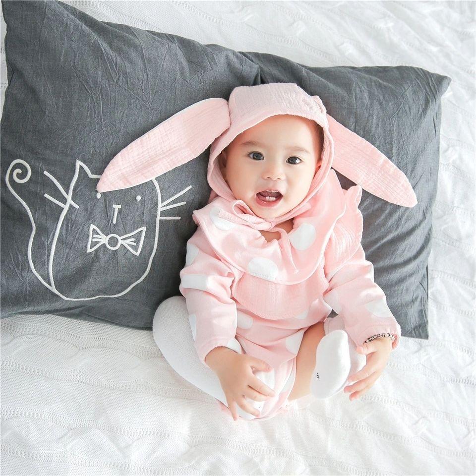 選べる3色 うさぎさん 耳つき帽子、フリル ドット柄ボンボンしっぽつき 長袖 ロンパース2点セット ガールズ 女の子 ベビー キッズ 子供 赤ちゃん