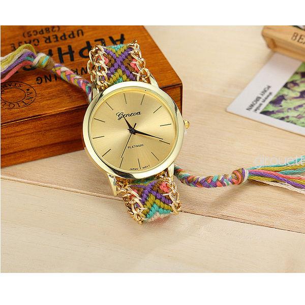 【即納】ミサンガウォッチ 刺繍 ボヘミアン ブレスレット風 腕時計 フェザーブレスセット #03
